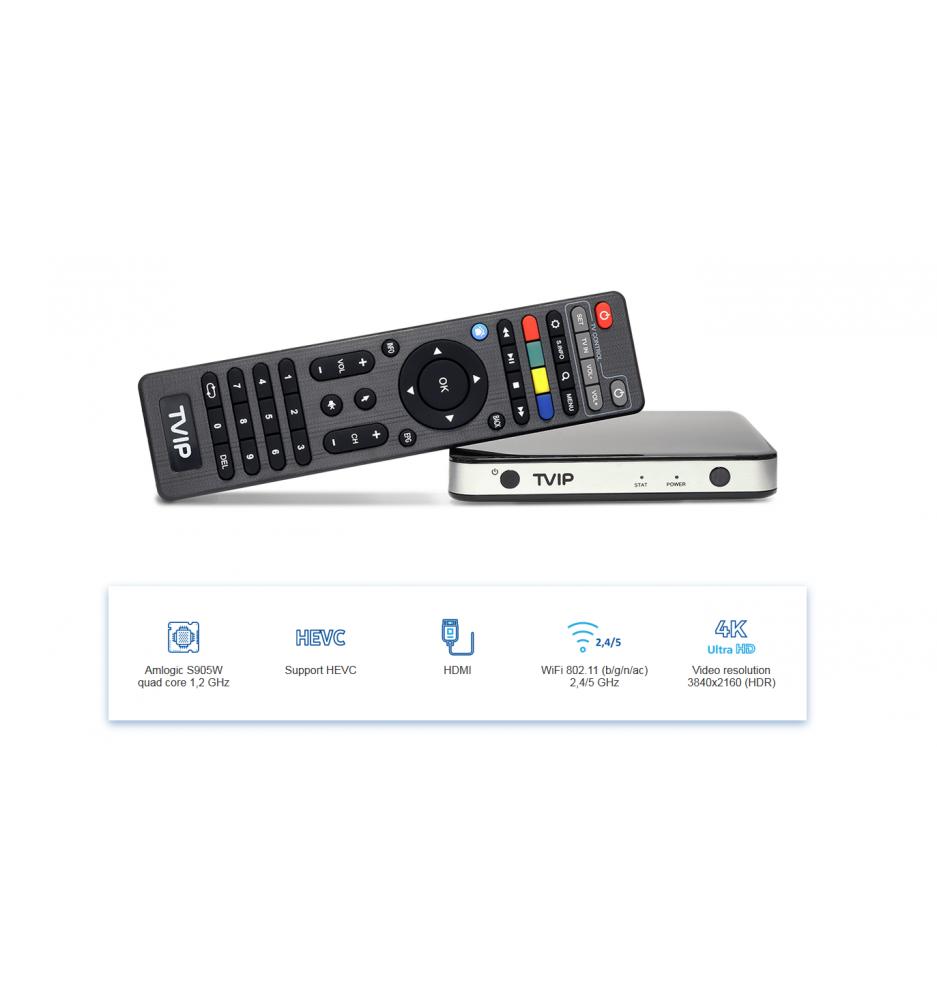 TVIP S-Box v.525 IPTV / OTT HD Box 4K With WiFi 2.4 / 5 GHz